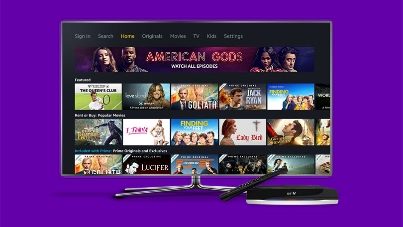 Amazon Prime Video now available on BT TV