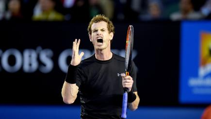 Andy Murray shows his frustration against Novak Djokovic