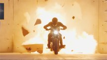 BT ad motorcyclist bursts through wall