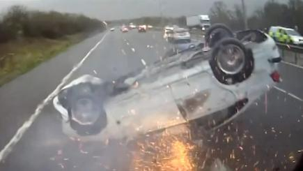 Car slides on roof on M5