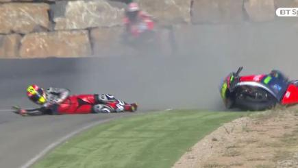 Screengrab of Spanish rider Álvaro Bautista crashing in practice for the MotoGP at Aragon.