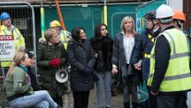 Rita Sullivan [BARBARA KNOX], Yasmeen Nazir [SHELLEY KING], Erica Holroyd [CLAIRE KING], Rana Nazir [BHAVNA LIMBACHIA] and Brian [PETER GUNN] join Sally Metcalfe [SALLY DYNEVOR] in her protest outside the building site. Photo credit: ITV