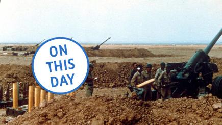 Iraqi artillery supports the invasion of Kuwait on August 1, 1990.