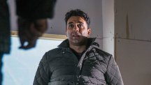 When Rakesh Kotecha [PACHA BOCARIE] awakes bound and gagged, he's shocked to discover the identity of his kidnapper. Photo credit: ITV