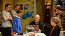Phil appears baffled by his birthday present in this week's EastEnders.  Photo credit: BBC