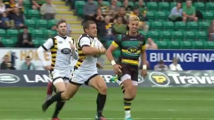 Screengrab of Wasps' Jimmy Gopperth racing away to score beneath the posts against Northampton Saints.