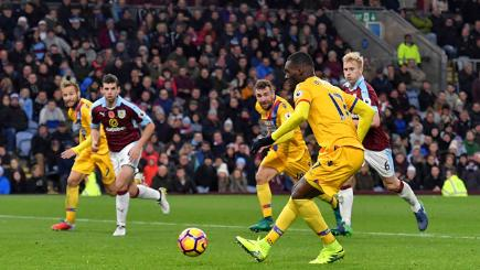 Christian Benteke scores for Crystal Palace against Burnley in 2016.