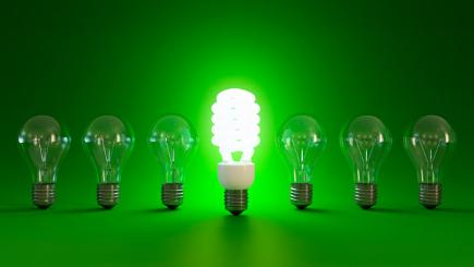 CFL lightbulb on green background with 6 incandescent