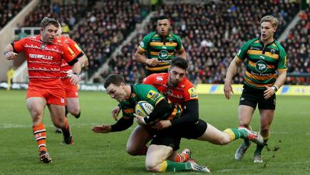 Northampton Saints George North is tackled by Leicester Tigers Owen Williams during their Aviva Premiership match yesterday.