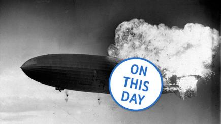 German airship the Hindenburg bursts into flames