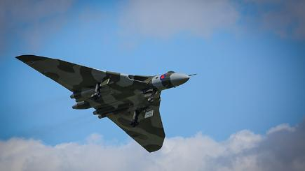 The Vulcan jet flying over Doncaster Airport