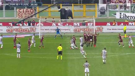 Screengrab of Andrea Pirlo, about to score an absolute pearler against Torino.