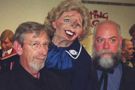 Spitting Image creators Roger Law and Peter Fluck with a Margaret Thatcher puppet
