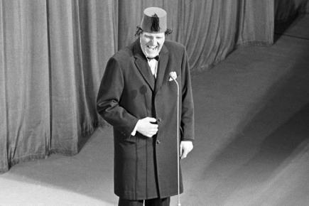 Tommy Cooper on stage at the Royal Variety Performance in 1967