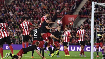 Southampton's Steven Caulker (centre) has a goal ruled out for a foul in the Europa League.