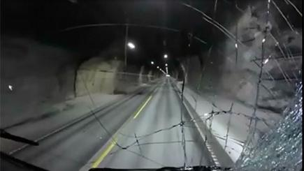 Smashed lorry windscreen taken by dashcam