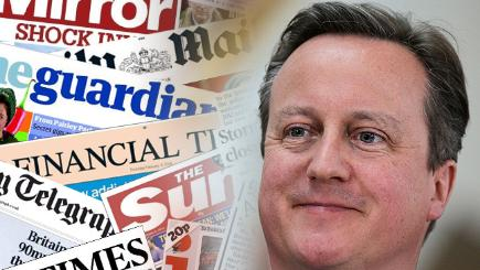 David Cameron and the front pages from today's papers