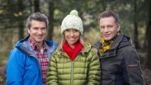 Presenters Martin Hughes-Games, Michaela Strachan and Chris Packham.  Photo credit: BBC