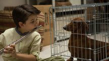 Keaton Nigel Cooke and his Dacshund in the film Wiener-Dog.
